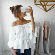 Women Off Shoulder Flare Sleeve Tie Waist Solid Strapless Tops Shirts Blouses