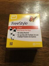 Freestyle Lite Diabetic Test Strips 50 Count Box New Never Opened Exp 6/2019