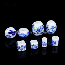 10Pcs Ceramic Round Blue And White Loose Porcelain Beads DIY Jewelry Makings