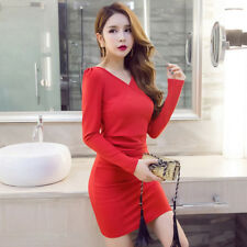 Women V Neckline Long Sleeves Solid Ruched Bandage Tight Package Hip Mini Dress