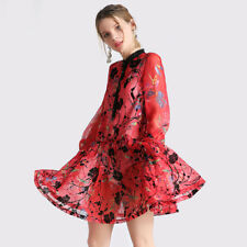 Spring Women Flocking Floral Midi Dress Sexy Perspective Chiffon Pleated Dress