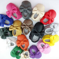 Tassel Bow Baby Soft Sole Leather Shoes Boy Girl Infant Toddler Moccasin Shoes