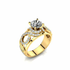 1ct Moissanite Engagement Ring made of 14k Yellow Gold, Art-Deco Engagement Ring