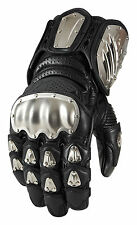 ICON Motosports TIMAX LONG Leather/Titanium Motorcycle Gloves (Choose Size)