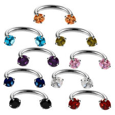 9pcs Steel Eyebrow Earring Nose Hoop CZ Gem Barbells Spike Horseshoe Rings Lot