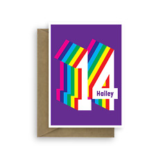 Personalised 14th happy birthday card for boy for girl edit name colourful 14