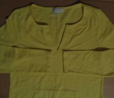 Liz Claiborne Yellow V Neck Kangaroo Pocket LS T Shirt Womens L Great Condition