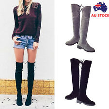 Women Over The Knee Low Block Heel Thigh High Boots Shoes Stretch Suede Boots