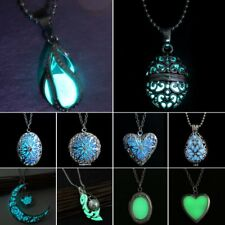 Vintage Silver Hollow Heart Moon Owl Glow In The Dark Luminous Pendant Necklace