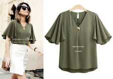 Women's Casual Chiffon Solid V Neck Falbala Short Sleeve Tops Blouses 3 Colors