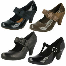 LADIES CLARKS LEATHER MARY JANE BUCKLE SMART FORMAL COURT SHOES COOLEST BERRY