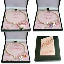 Birthstone Bracelet with Letter Charm and Silver Beads in Special Gift Box