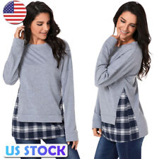 US Women Tops Long Sleeve Crew Neck Plaid Check Shirt Tee Pullover Blouse Jumper