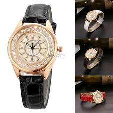 Women Rhinestones Quartz Wrist Watch Alligator Pattern Faux Leather Band MSF