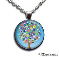 Handmade Glass Pendant Necklace Blossoming Flower Tree Nature Blue Skies NT121
