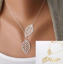 NEW SILVER GOLD LEAF LEAVES PENDANT LARIAT CHAIN NECKLACE LADIES FASHION JEWELRY