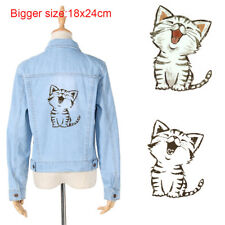 Iron on Heat Transfer DIY Appliqued Coat Bag Funny Cat Patches Stickers Washable