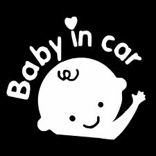 Baby in Car Wave Baby Safety Sign White Car Vinyl Sticker Window Decal Decor