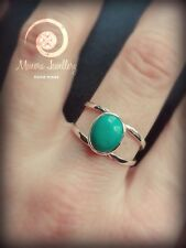 Large turquoise Stone,Gold Ring, Silver ring,Blue Stone Ring, Double Band Rings