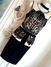 LIPSY SIZE 10  APPLIQUE LACE BLACK & NUDE BODYCON DRESS BNWT NEW IN rrp £58!