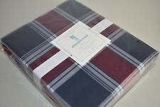 NEW Pottery Barn Kids ORGANIC PLAID DUVET COVER Twin Full Queen Red Navy