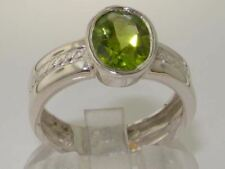 SOLID STERLING SILVER FULL UK HALLMARK QUALITY NATURAL PERIDOT SOLITAIRE RING
