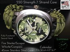 USA Military Green  Paracord Survival Bracelet Compass Fire Whistle Camo Watch