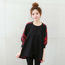 Women's Casual Round Neck Checks Spliced Batwing Sleeve Loose Shirt Top Blouse