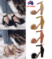 Women Fluffy Fur Ankle Strap Open Toe Sandal Ladies High Block Heels Party Shoes