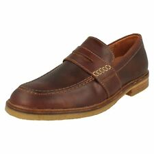MENS CLARKS MAHOGANY LEATHER SLIP ON CASUAL LOAFER SHOES SIZE CLARKDALE FLOW