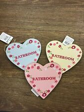 Sass & Belle Ditsy Heart  BATHROOM Pink / Blue / Yellow Floral Sign BRAND NEW