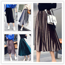 Women's Elegant Pleuche Solid Elastic Waist A-line Pleated Midi Skirt 5 Colors