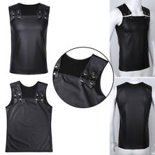 Men's Faux Leather Tank Top Sleeveless Muscle Vest Slim Shirt Waistcoats Costume