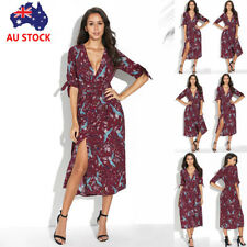 Women Summer Boho Floral V Neck Maxi Long Dress Cocktail Party Split Sundress