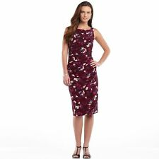 Womens Sleeveless Floral Ruched Dress by Ralph Lauren Chaps NEW