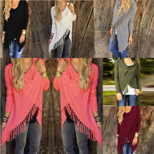 Womens Irregular Tassel Fringe Cardigan Sweater Poncho Shawl Coat Jacket Tops