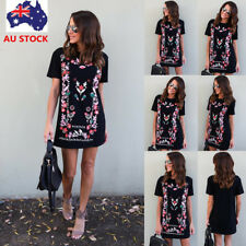 Women Summer Boho Floral Short Sleeve Dress Evening Party Beach Short Mini Dress