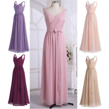 Women's V-neck Chiffon Long Dress Evening Party Formal Bridesmaid Prom Ball Gown