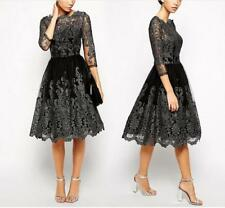 Women's Retro Embroidered Sheer Crochet 1/2 Sleeve Vintage Party Swing Dress