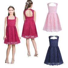 Flower Girls' Dress Kids Birthday party Wedding Bridesmaid Gown Formal Age 4-14Y
