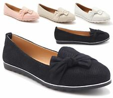 WOMENS LADIES FLAT LOAFER BOW PERFORATED PLIMSOLLS PUMPS SLIP ON BALLERINA SHOES