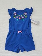 NEW CARTERS BABY GIRLS ONE PIECE ROMPER BLUE WITH EMBROIDERY FLOWERS SIZE 3M