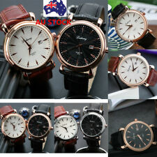 Men's Luxury Analog Quartz Watch Leather Band Stainless Steel Casual Wrist Watch