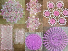 VINTAGE VARIATIONS: Table Doily or Dresser Set-Handmade Pink Crocheted Items