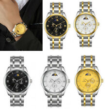 Tevise Luxuey Stainless Steel Mechanical Automatic Watch Moon Phase Wristwatch