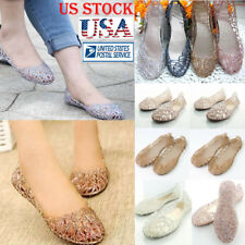 Womens Ventilate Crystal Shoes Jelly Hollow Mesh Glitter Sandals Flat Shoes Size