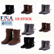 Womens Boots Mid Calf Booties Low Chunky Flat Heel Suede Faux Buckle Shoes Size