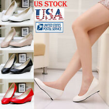 US Womens Wedge Platform Mid Kitten Heel Shoes Round Toe Office Pumps Shoes Size