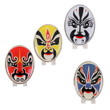 New Peking Opera Mask Alloy Golf Ball Marker with Magnetic Hat Clip 4 Colors