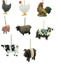 COUNTRY FARM ANIMAL CEILING FAN PULL -,CHICKEN,ROOSTER,SHEEP,PIG,COW
